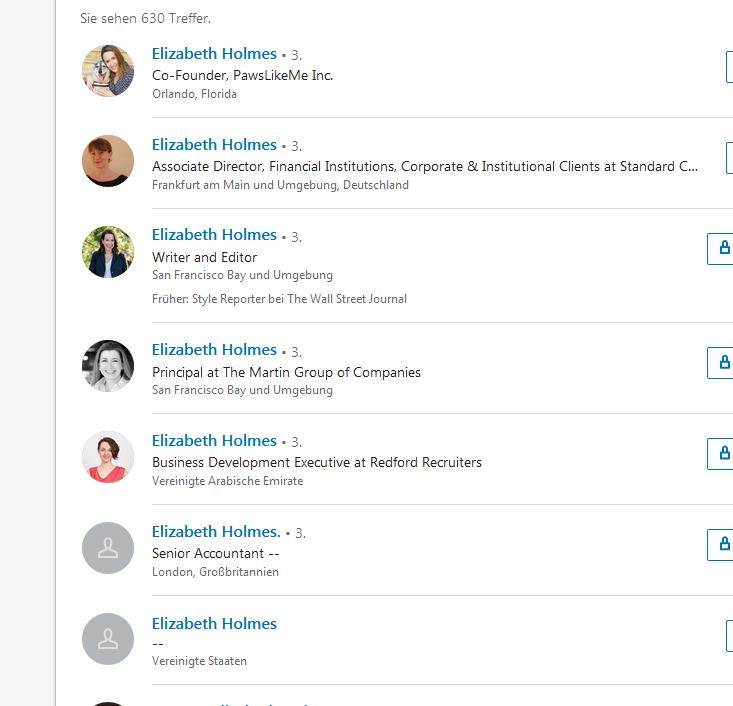 Элизабет Холмс в LinkedIn. С некоторых пор женщины по имени Элизабет Холмс начали получать сообщения от незнакомых с требованием вернуть деньги.