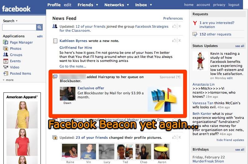 Facebook Beacon. Этика социальной сети Facebook...