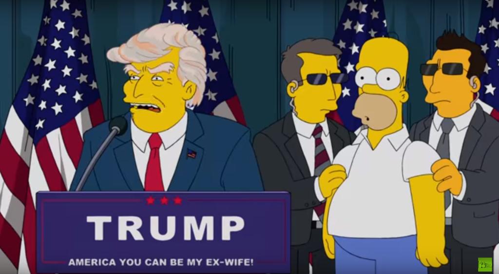 Дональд Трамп в Симпсонах пленяет Гомера своими волосами.