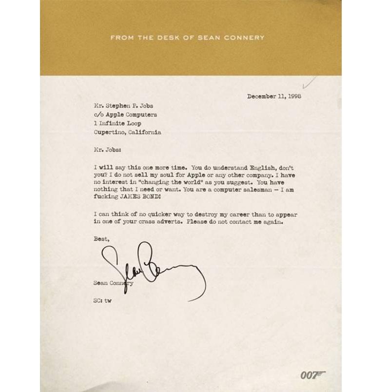 Письмо от Джеймса Бонда Стиву Джобсу (которого на самом деле не существовало)